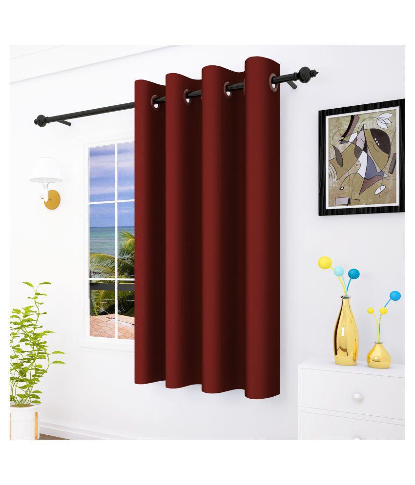 Story@Home Set of 2 Window Eyelet Silk Curtains Black