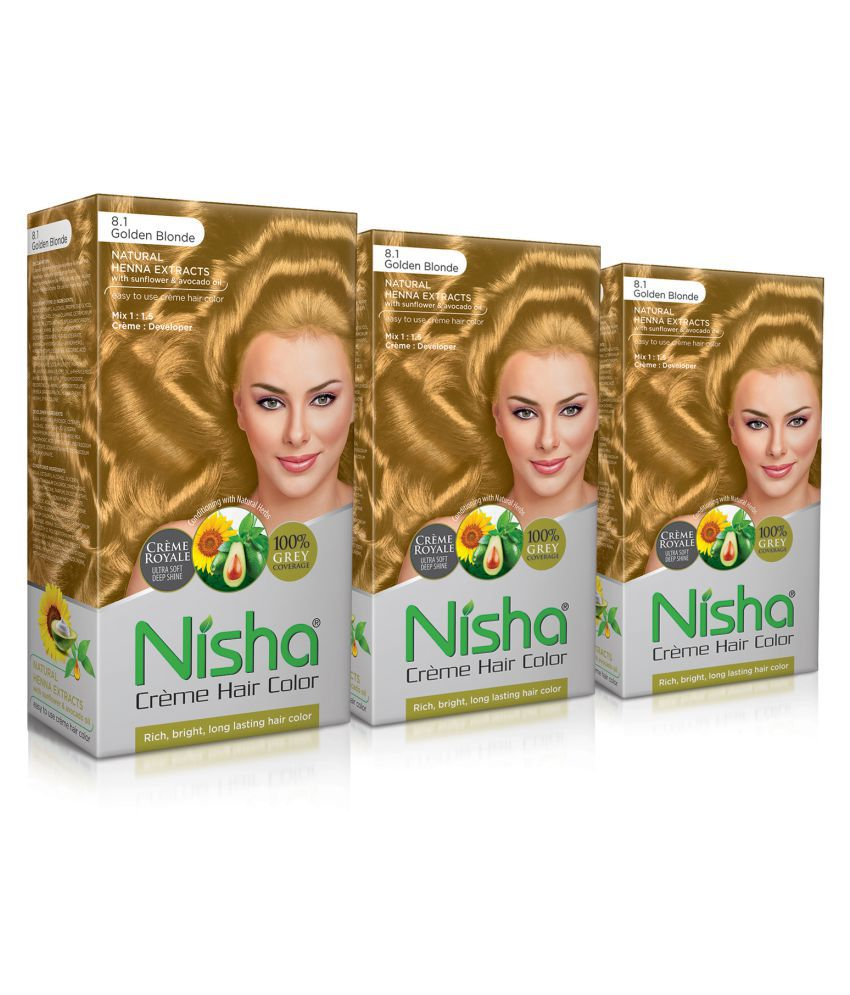 Nisha (60gm, 60ml, 12ml) Cream Permanent Hair Color Golden Blonde 120 mL Pack of 3