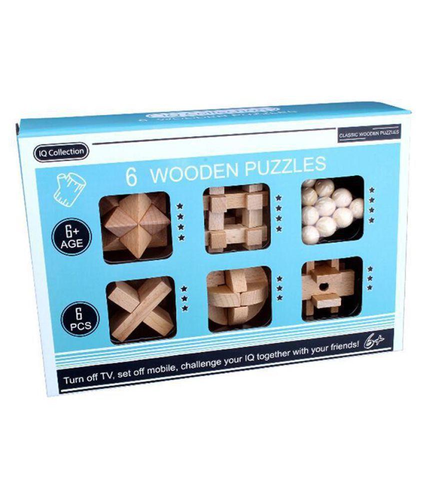 Kids Wooden Magic Puzzle Toys Classic Luban Blocking Interlocking Gifts