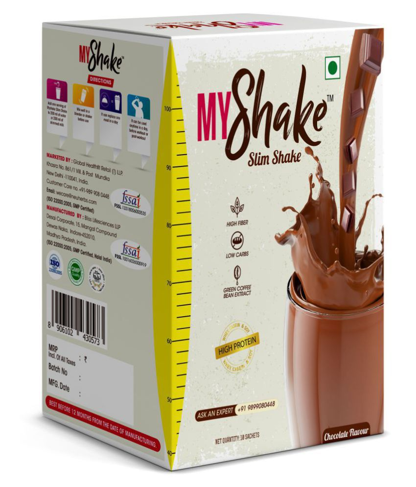 Neuherbs Myshake Slim shake - High Protein Meal Replacement for Weight Loss  with Green Coffee Extract (10 Serving) 490 gm Chocolate