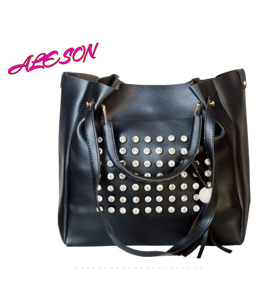 ALESON Black Faux Leather Sling Bag