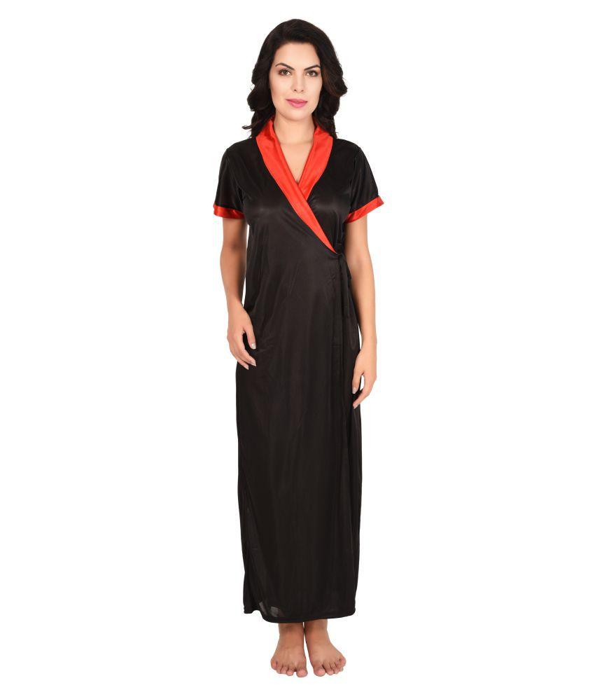 Ansh Fashion Wear Satin Robes - Black