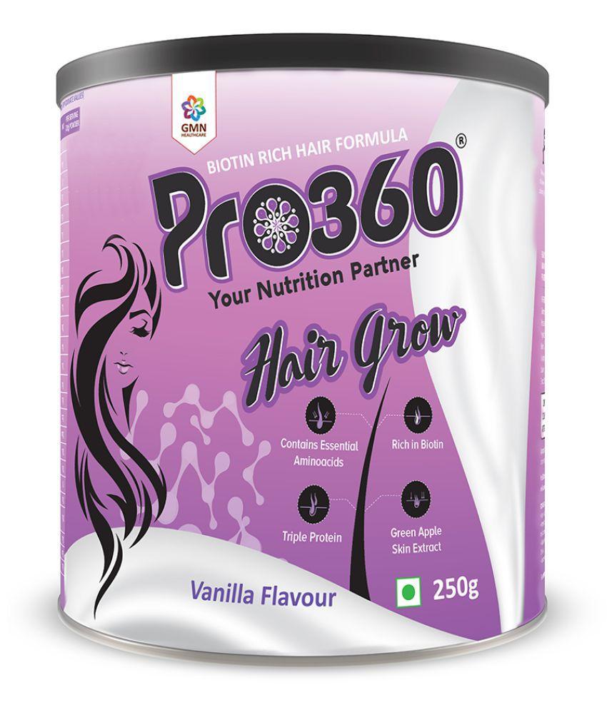 PRO360 Hair Grow Protein Health Drink Powder 250 gm Vanila