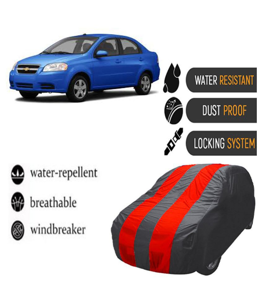 QualityBeast Car Body Cover for  Chevrolet Aveo Mahroon Grey