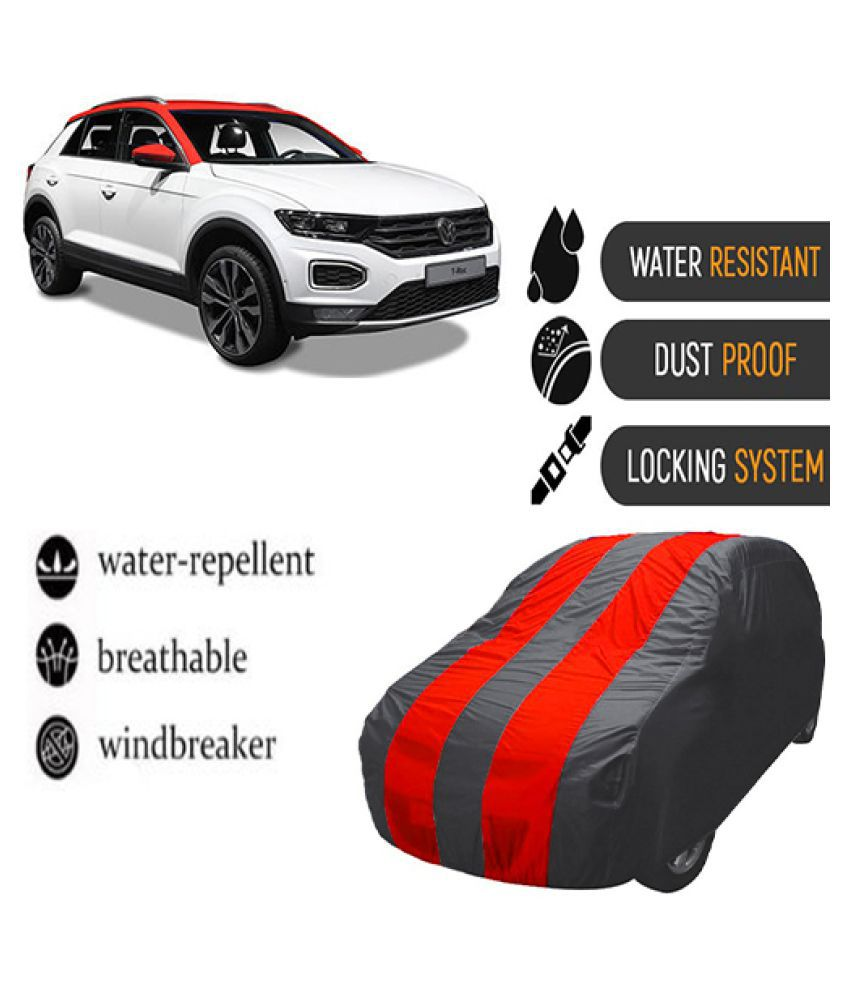 QualityBeast Car Body Cover for  Volkswagen T-Roc Mahroon Grey