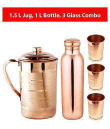 KC Copper 1.5L Jug, 1L Water Bottle and 300ml -3 Glass | 5 Pcs Combo