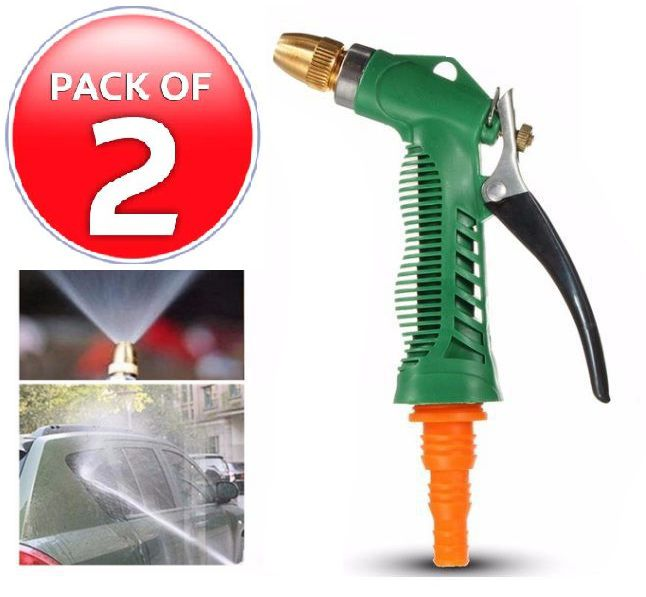 HSR Plastic Trigger And Brass Nozzle Car Wash Water Gun Spray - Set Of 2