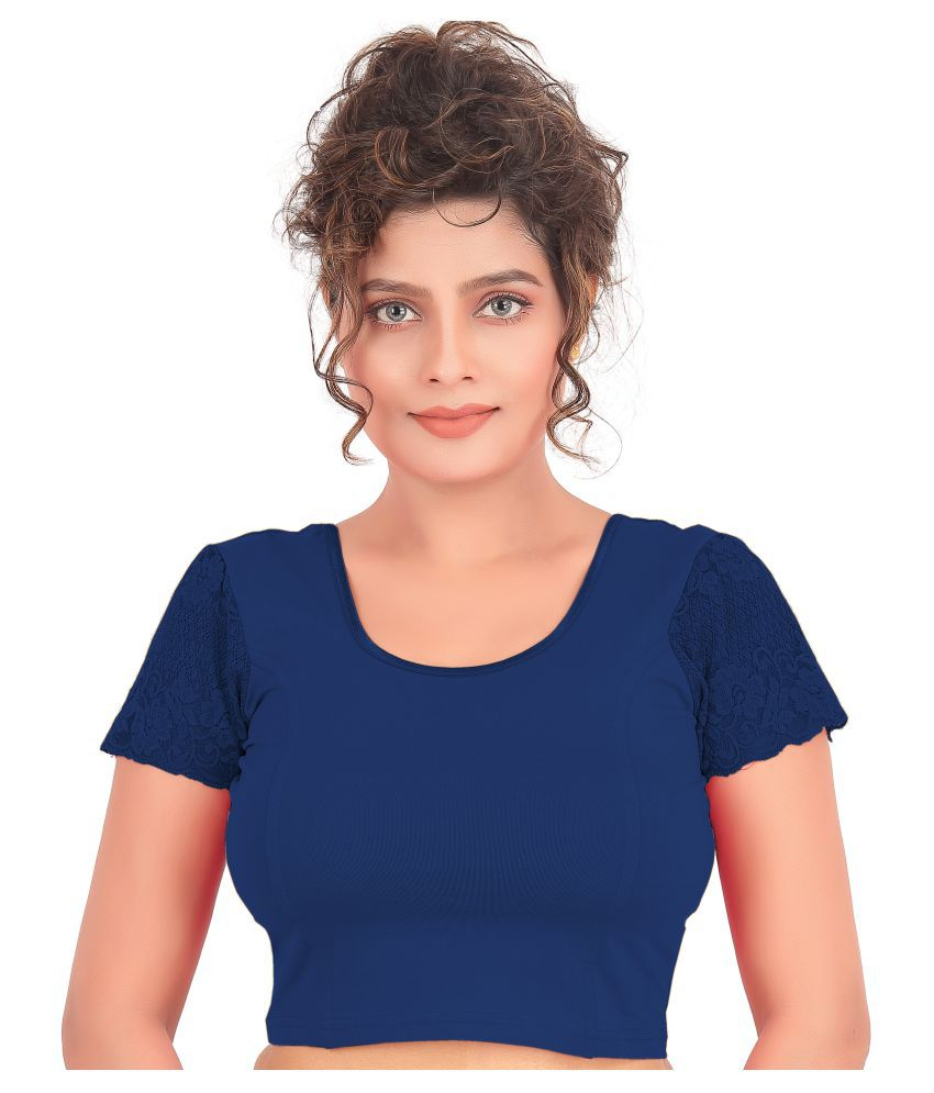 Atulya Designer Blouse Blue Lycra Readymade without Pad Blouse