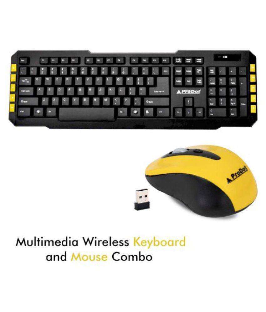 ProDot TLC 107+165 Yellow Wireless Keyboard Mouse Combo