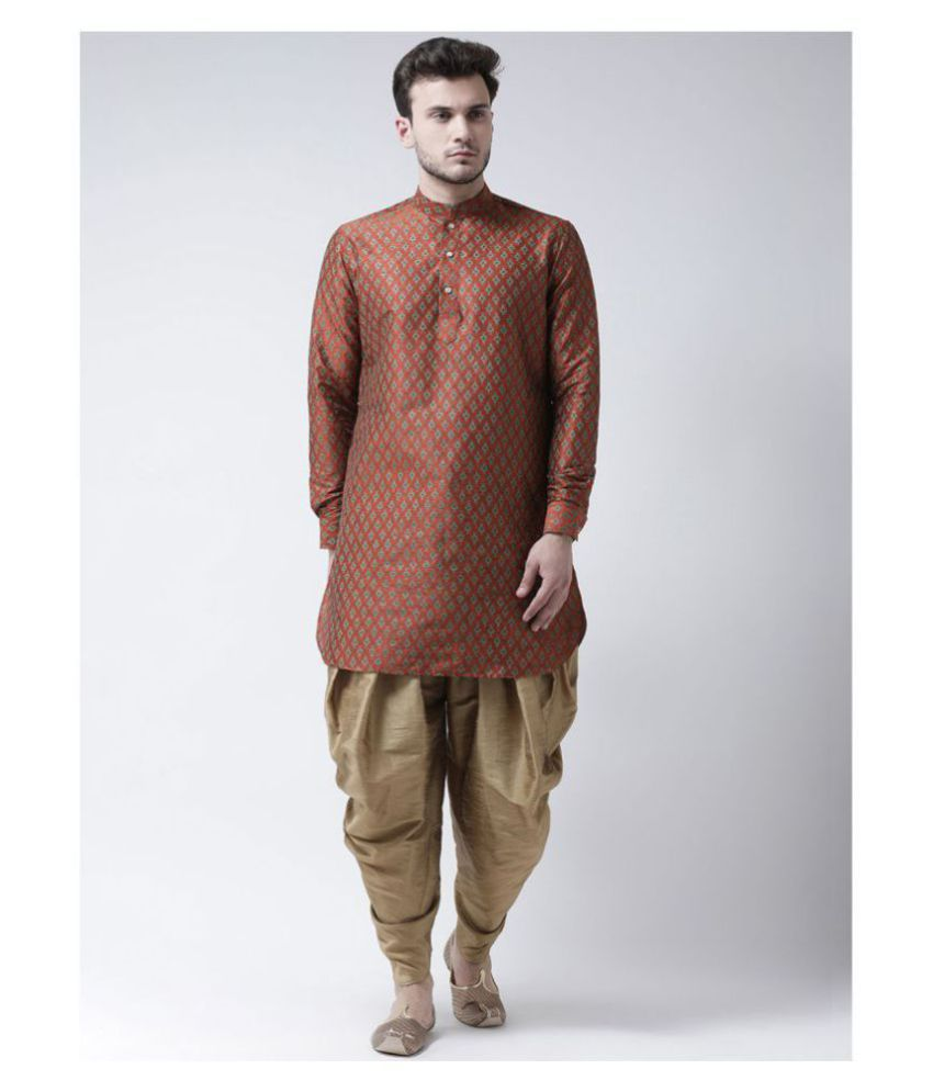 Deyann Orange Silk Blend Kurta Pyjama Set