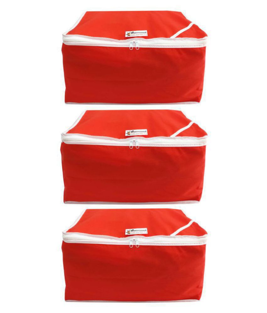 Shree Shyam Products Red Saree Covers - 3 Pcs