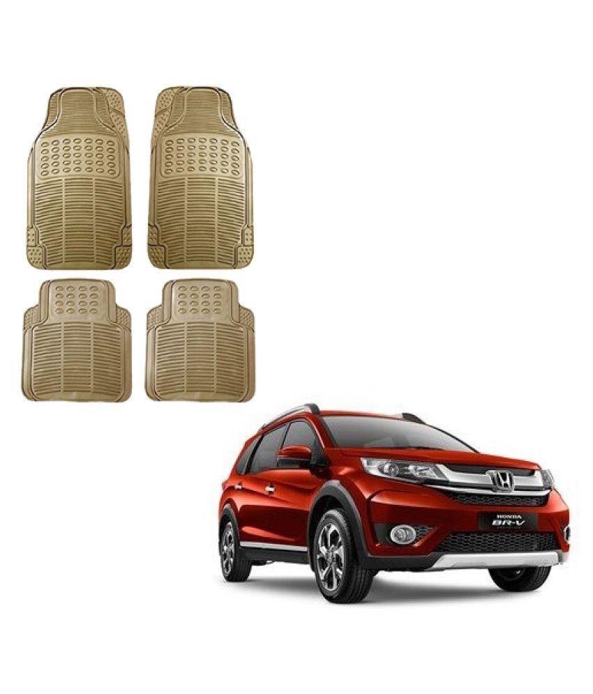 Auto Addict Car Simple Rubber Beige Mats Set of 4Pcs For Honda BRV