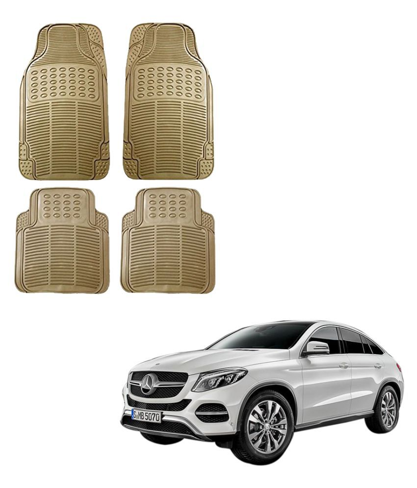 Auto Addict Car Simple Rubber Beige Mats Set of 4Pcs For Mercedes Benz NA