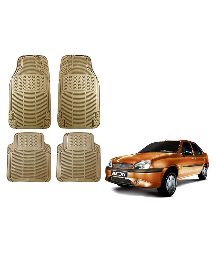 Auto Addict Car Simple Rubber Beige Mats Set of 4Pcs For Ford Ikon