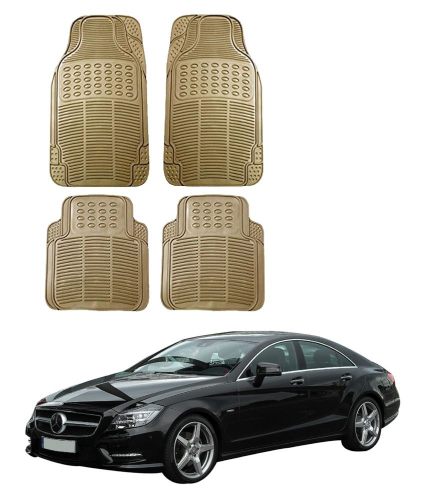 Auto Addict Car Simple Rubber Beige Mats Set of 4Pcs For Mercedes Benz CLS-Class