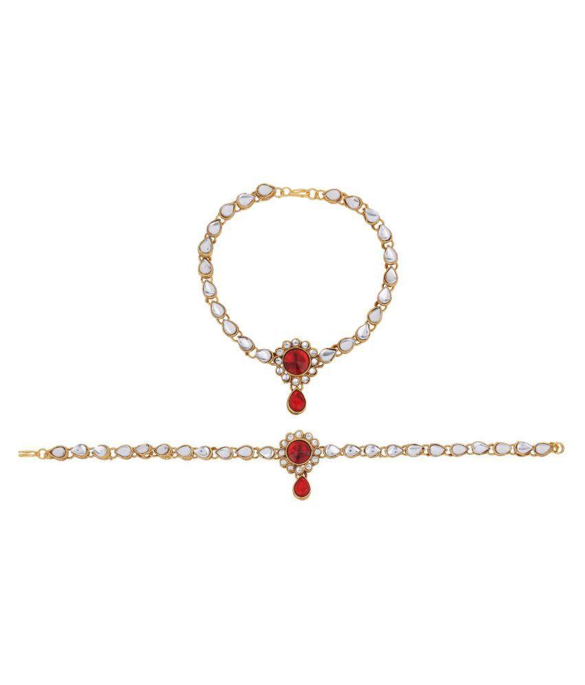 Archi Collection Fashion Stylish Traditional Gold Plated Kundan Crystal Wedding Bridal Wear Anklets Payal Jewellery