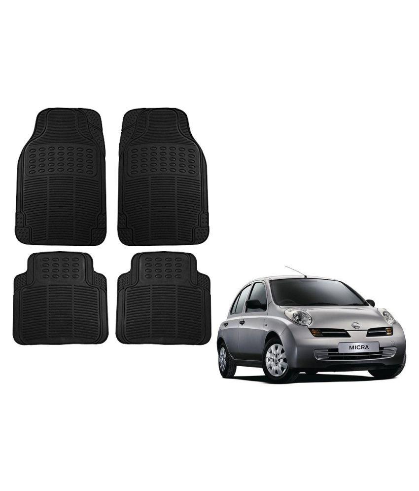 Auto Addict Car Simple Rubber Black Mats Set of 4Pcs For Nissan Micra