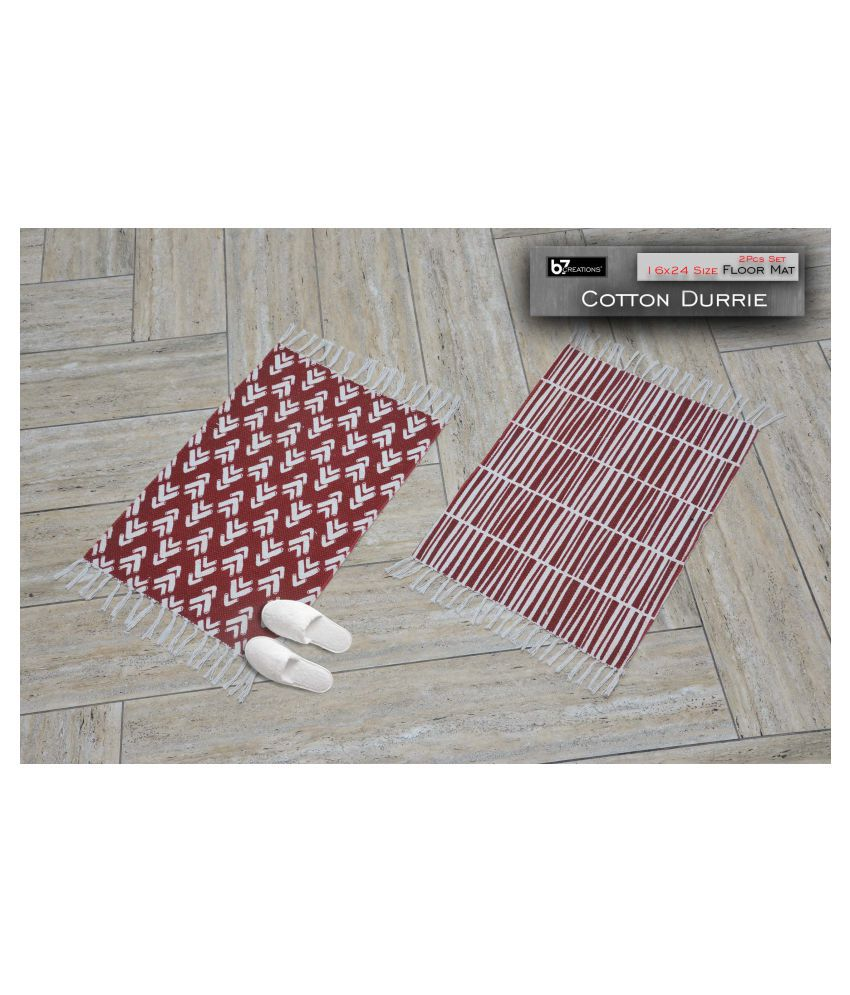 B7 CREATIONS Red Set of 2 Anti-skid Floor Mat