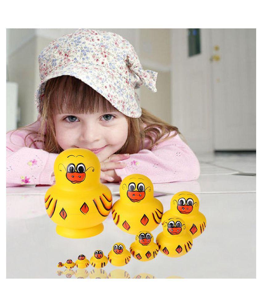 10 PCS Painted Wooden Russian Nesting Dolls Yellow Duck Matryoshka Kids Toys