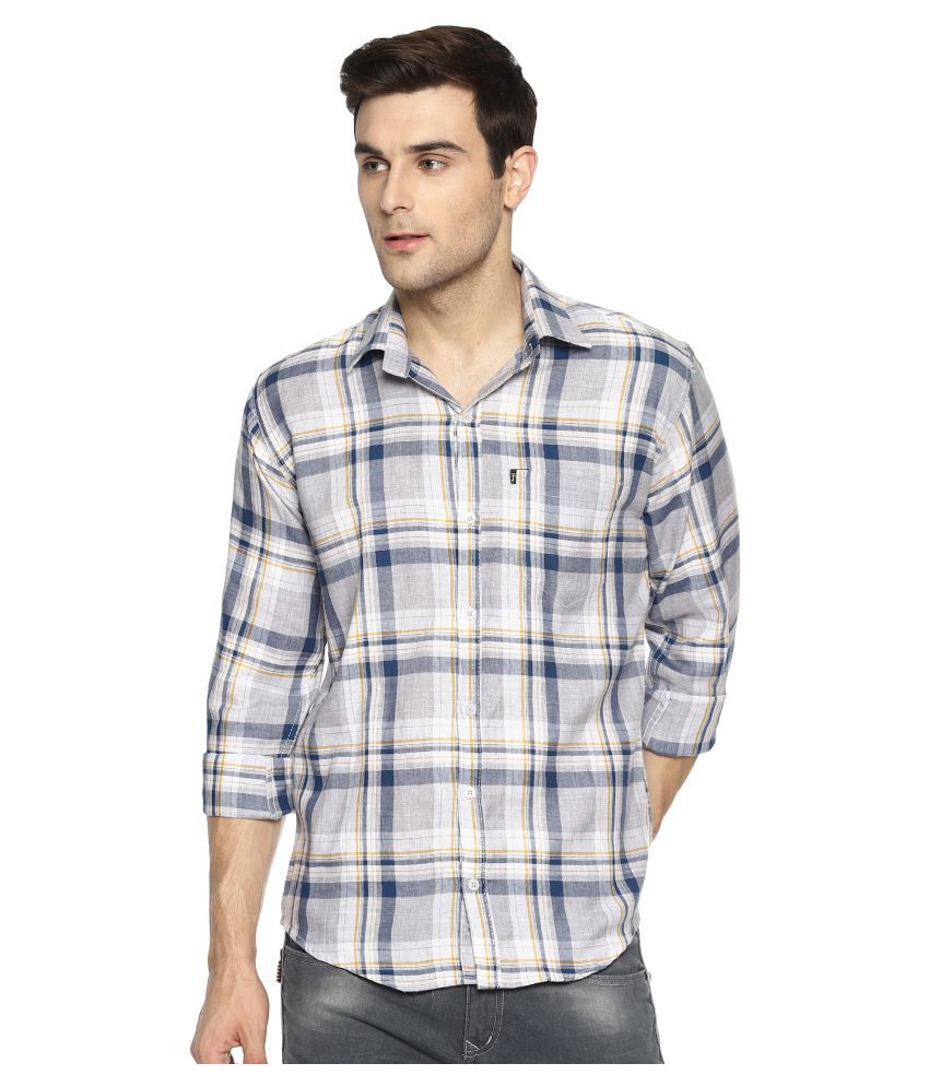 Levizo 100 Percent Cotton Yellow Checks Shirt