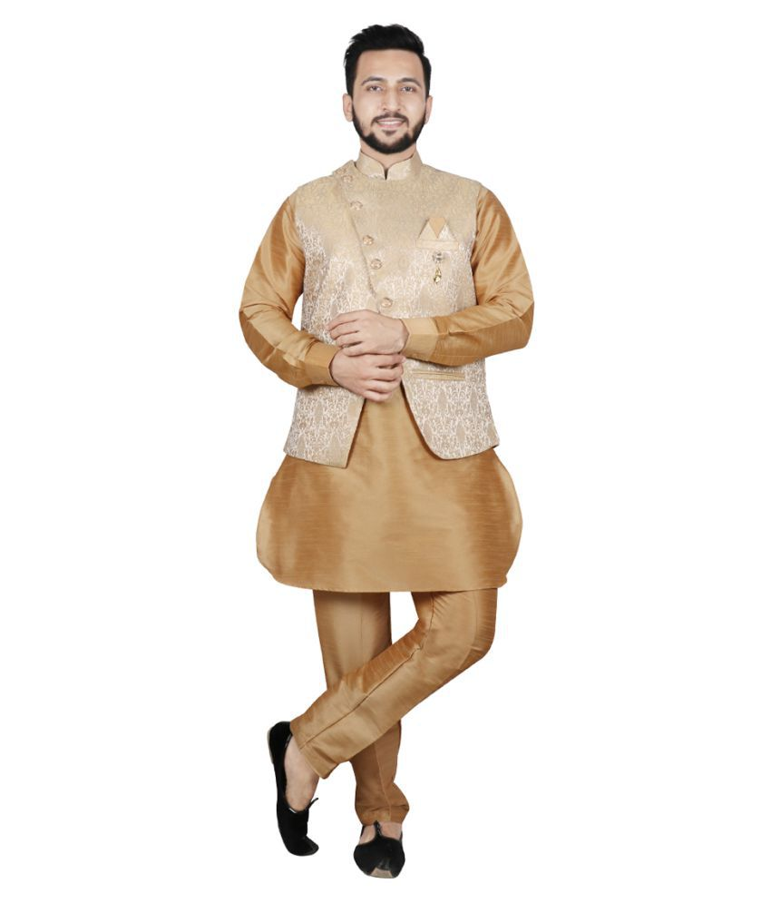 SG LEMAN Gold Polyester Pathani Suit