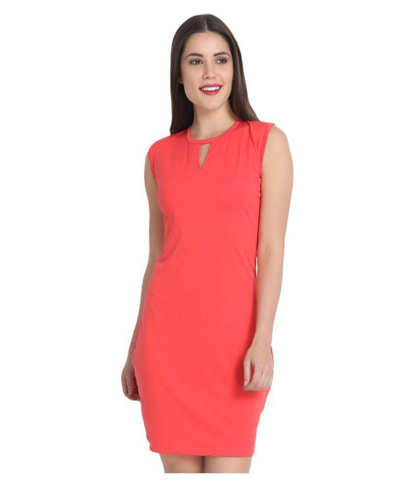 BuyNewTrend Cotton Pink Bodycon Dress