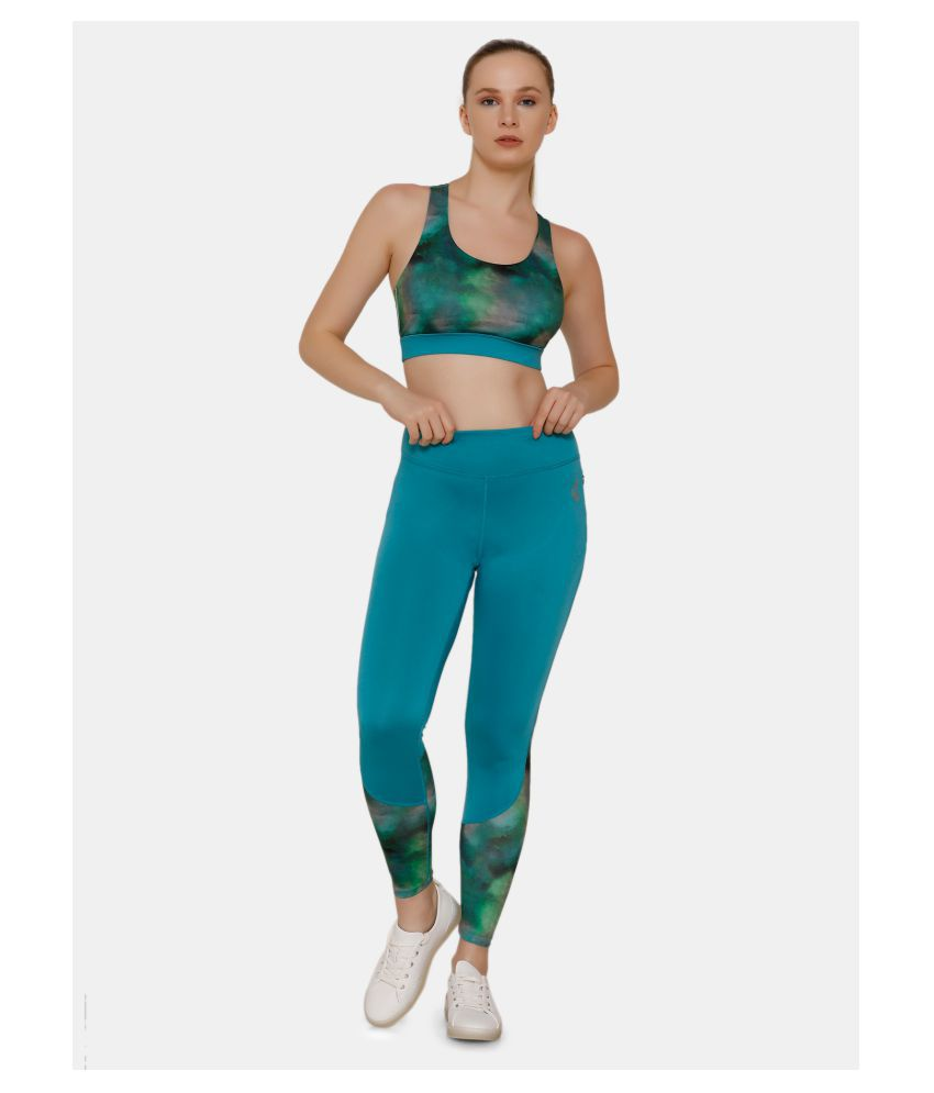 Zelocity Blue Polyester Solid Tights