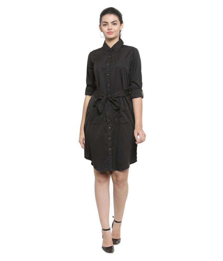 Color Cocktail Crepe Black Shirt Dress