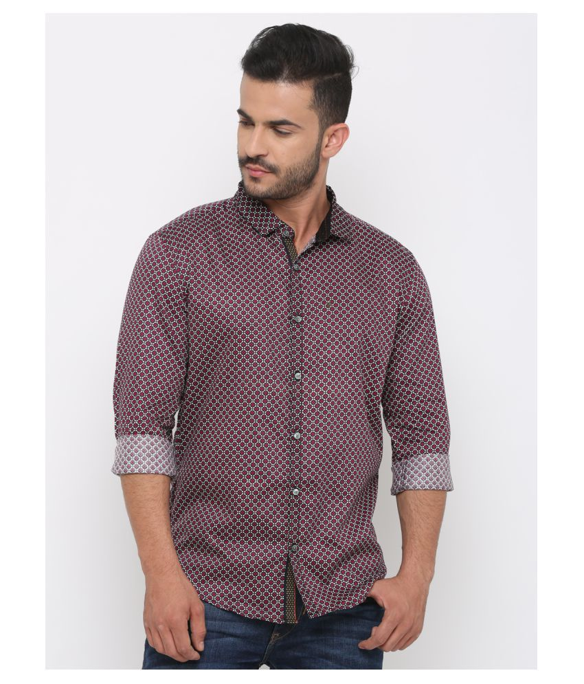 WITH 100 Percent Cotton Maroon Prints Shirt