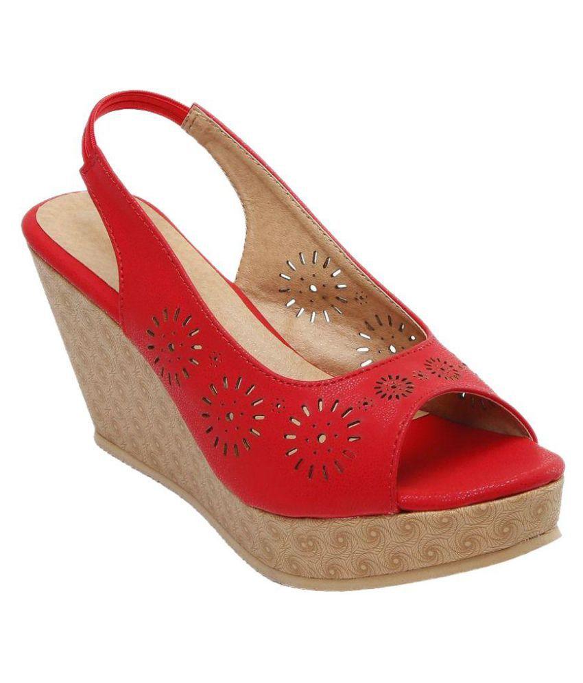 Catbird Red Wedges Heels