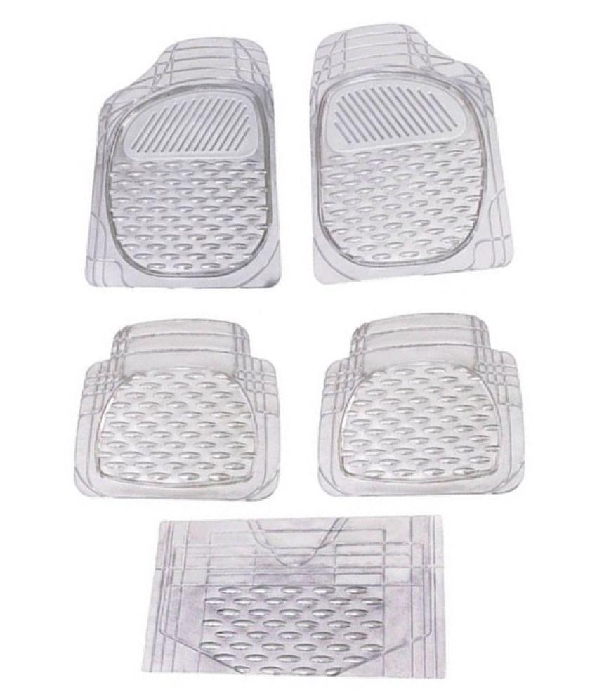 Autofetch Car Floor/Foot Mats (Set of 5) Transparent White for Hyundai i20 Elite
