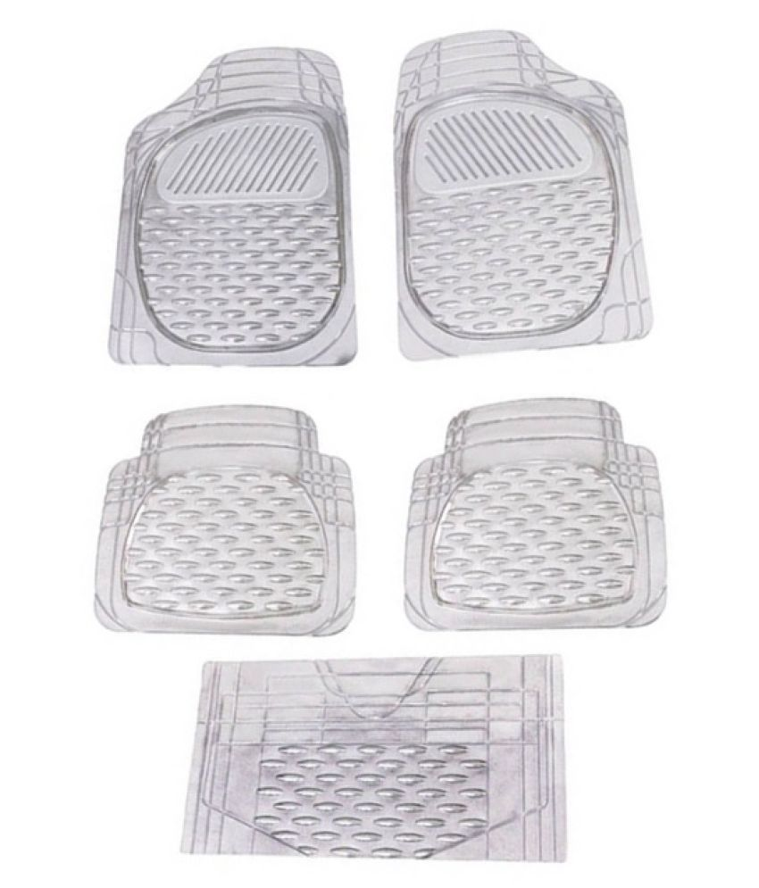 Autofetch Car Floor/Foot Mats (Set of 5) Transparent White for Mahindra New XUV 500