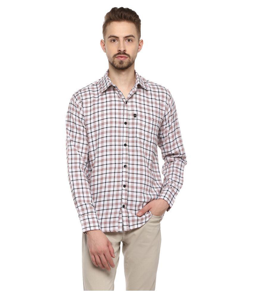 Levizo 100 Percent Cotton White Checks Shirt