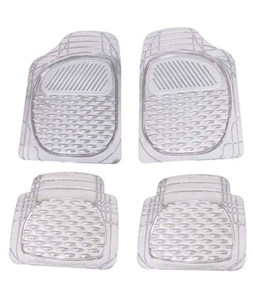 Autofetch Car Floor/Foot Mats (Set of 4) Transparent White for Toyota Fortuner