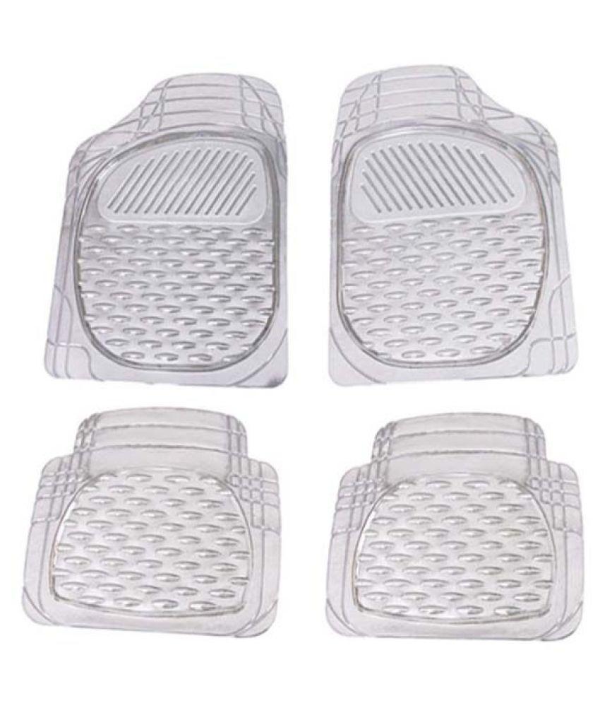 Autofetch Car Floor/Foot Mats (Set of 4) Transparent White for Tata Indigo