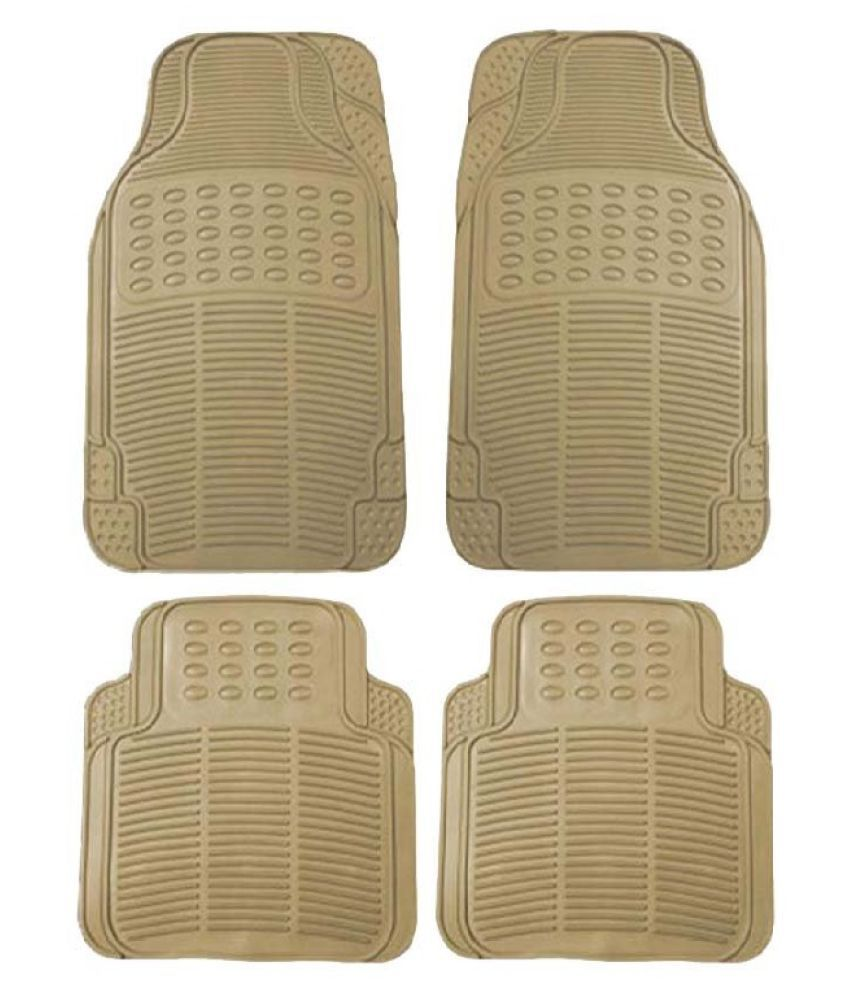 Autofetch Rubber Car Floor/Foot Mats (Set of 4) Beige for Mahindra Xylo (2007-2009)