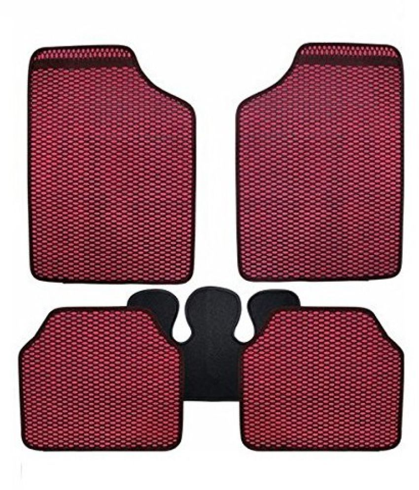 Autofetch Car Eclipse Odourless Floor/Foot Mats (Set of 5) Red for Maruti Alto