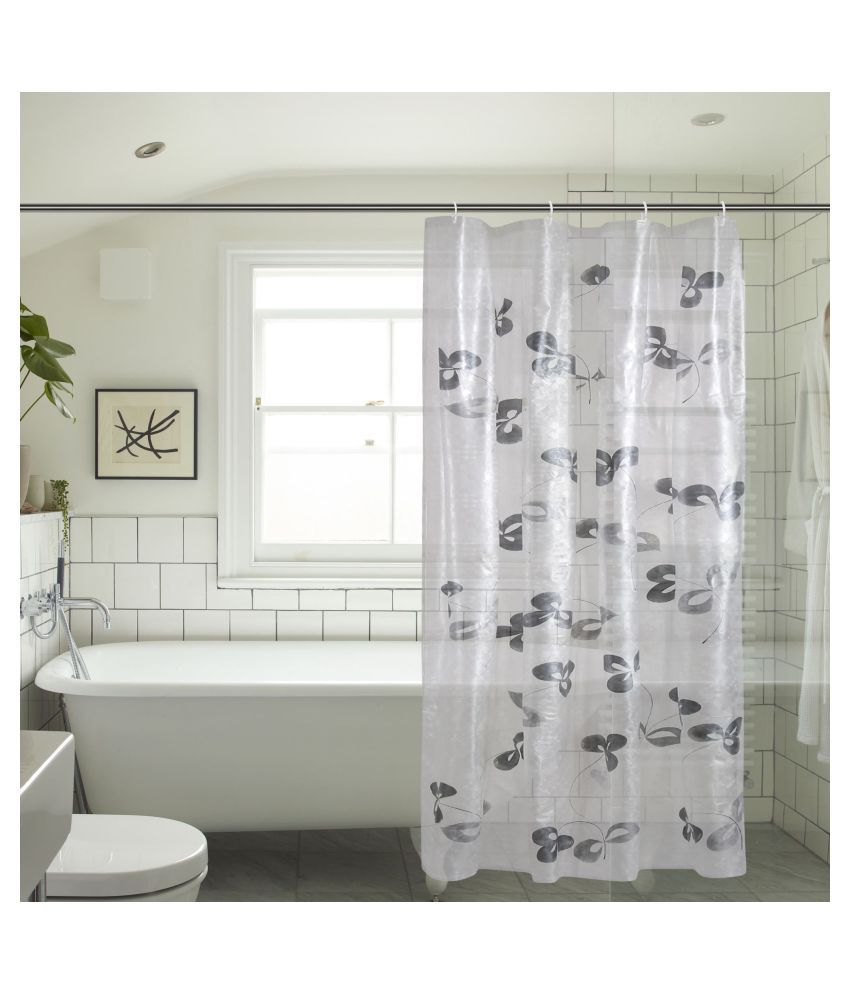 Khushi Creation Single Door Semi-Transparent Rod Pocket PVC Curtains White