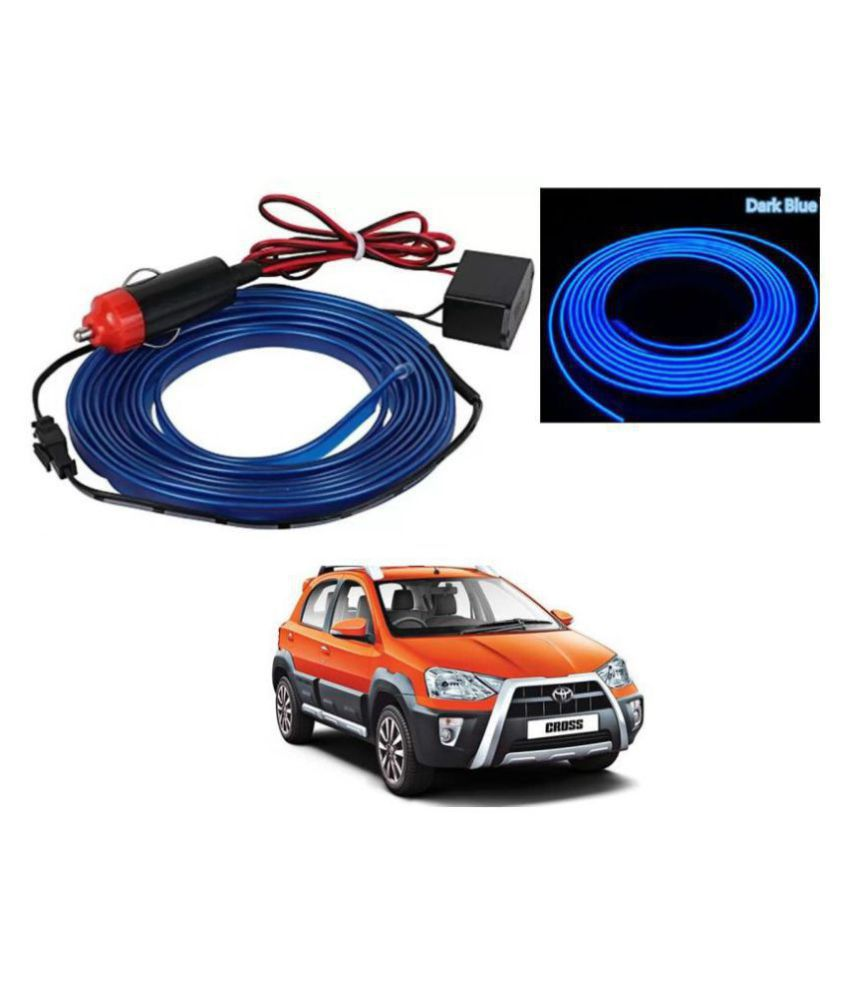 Auto Addict Blue Color 12V 5Mtrs Roll Cold Light Car Socket Strip Neon Lamp EL Wire Decor Interior Lighting For Toyota Etios Cross