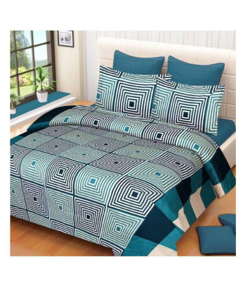 Home Garage Poly Cotton Double Bedsheet with 2 Pillow Covers