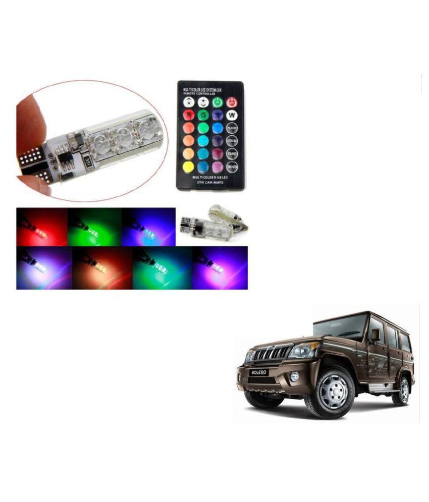 Auto Addict Car 5050 T10 6 SMD Remote Control 12V RGB Car Reading Wedge Lights for Auto Tail Light,Side,Parking,Door,Parking,Indicator,Socket Lighting Bulb 2 Pcs For Mahindra Bolero