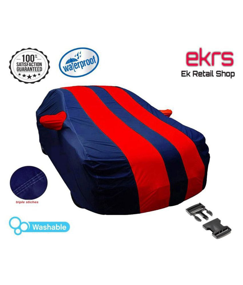 EKRS Waterproof Car Body Covers For  Honda City i VTEC CVT SV  with Mirror Pockets, Triple Stitching & Light Weight (Navy Blue & RED Color)