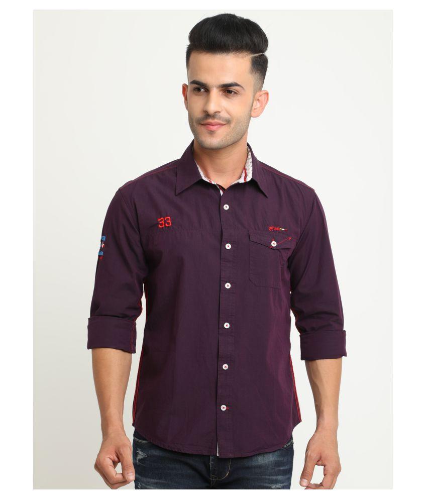 Flyrsclub 100 Percent Cotton Purple Solids Shirt