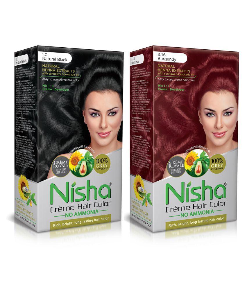 Nisha (60gm, 60ml, 12ml) Cream Each Pack Permanent Hair Color Burgundy Natural black 1 & Burgundy 3.16 120 mL Pack of 2