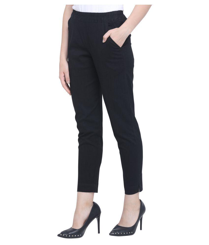 Meera Fashion Cotton Lycra Jeggings - Black