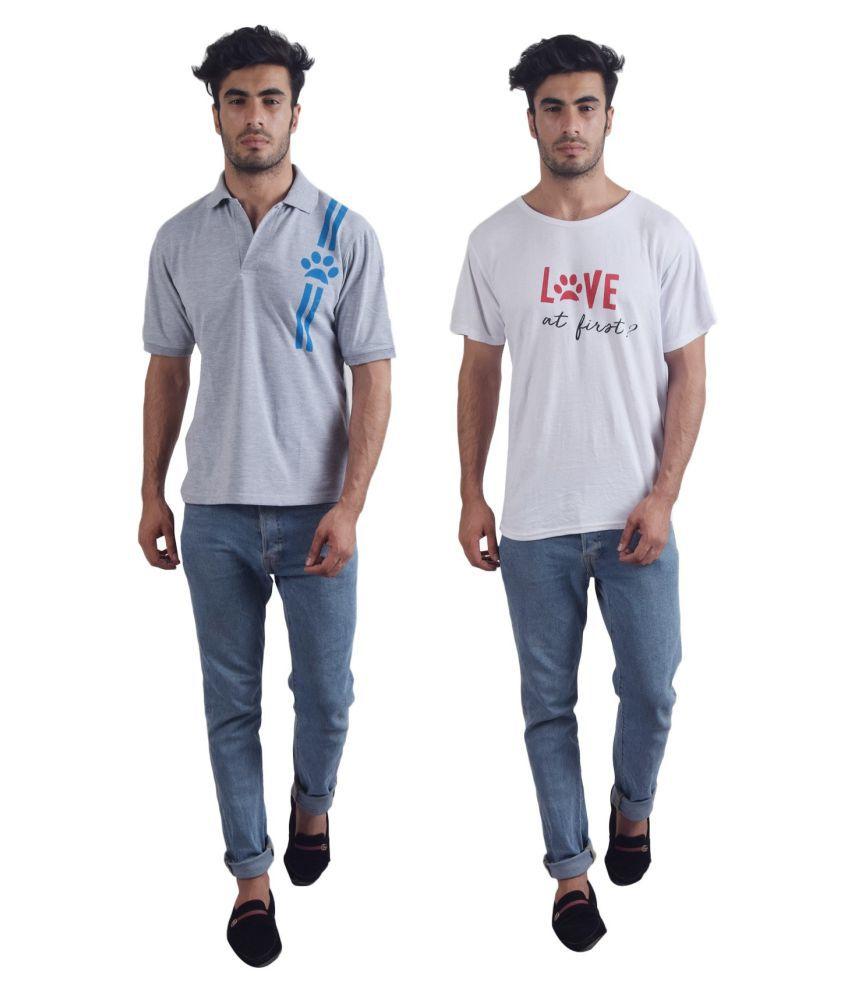 PAWS DE SQUARE 100 Percent Cotton Grey Printed T-Shirt