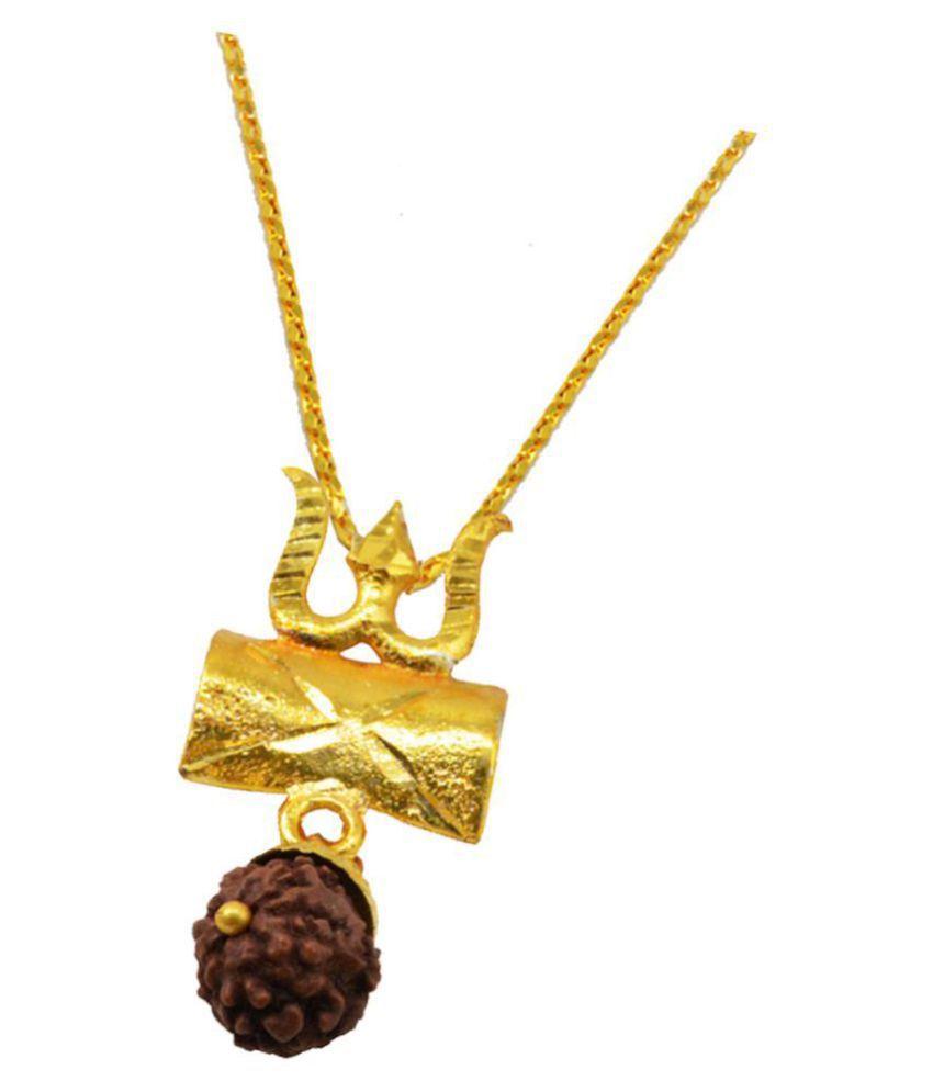 Shiv Jagdamba  Religious Jewelry Mahadev Shiva Trishul Rudraksha Damru Locket With Chain Gold-plated Brass, Wood Pendant