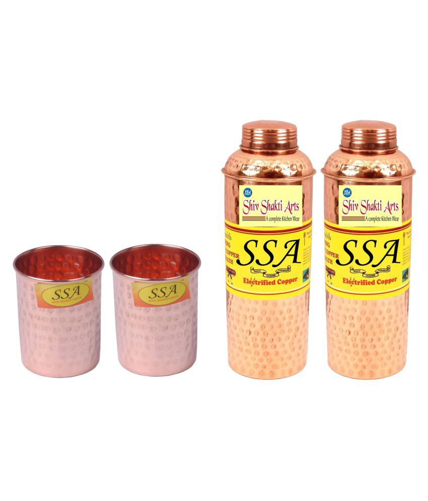 Shiv Shakti Arts Bottle & Glasses Set 4 Pcs Lemon set