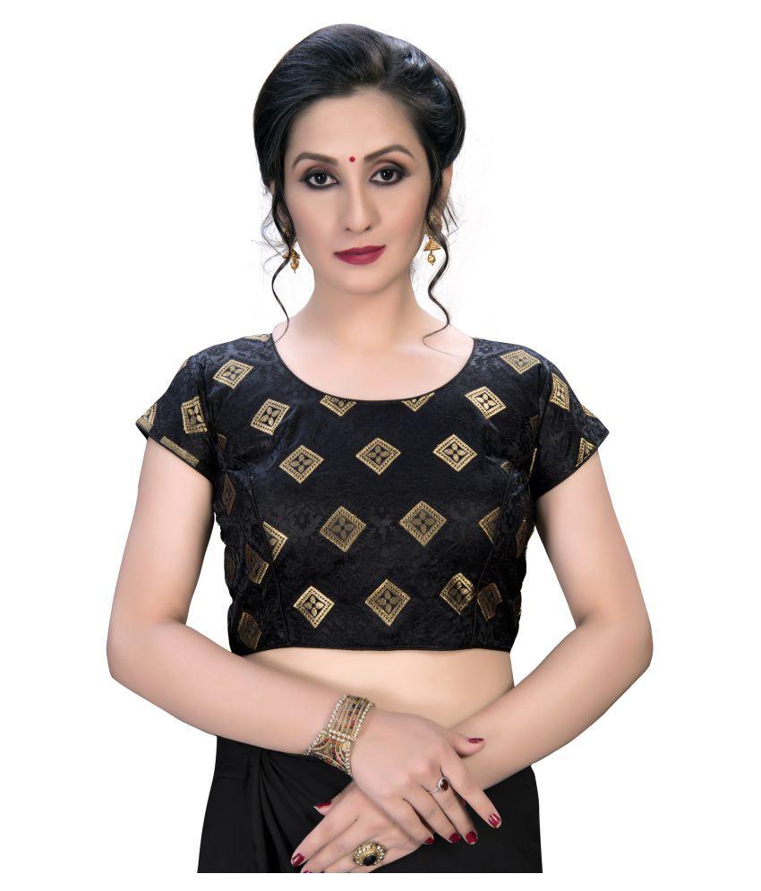 Amrutam Fab Black Jacquard Semi Stitched Blouse
