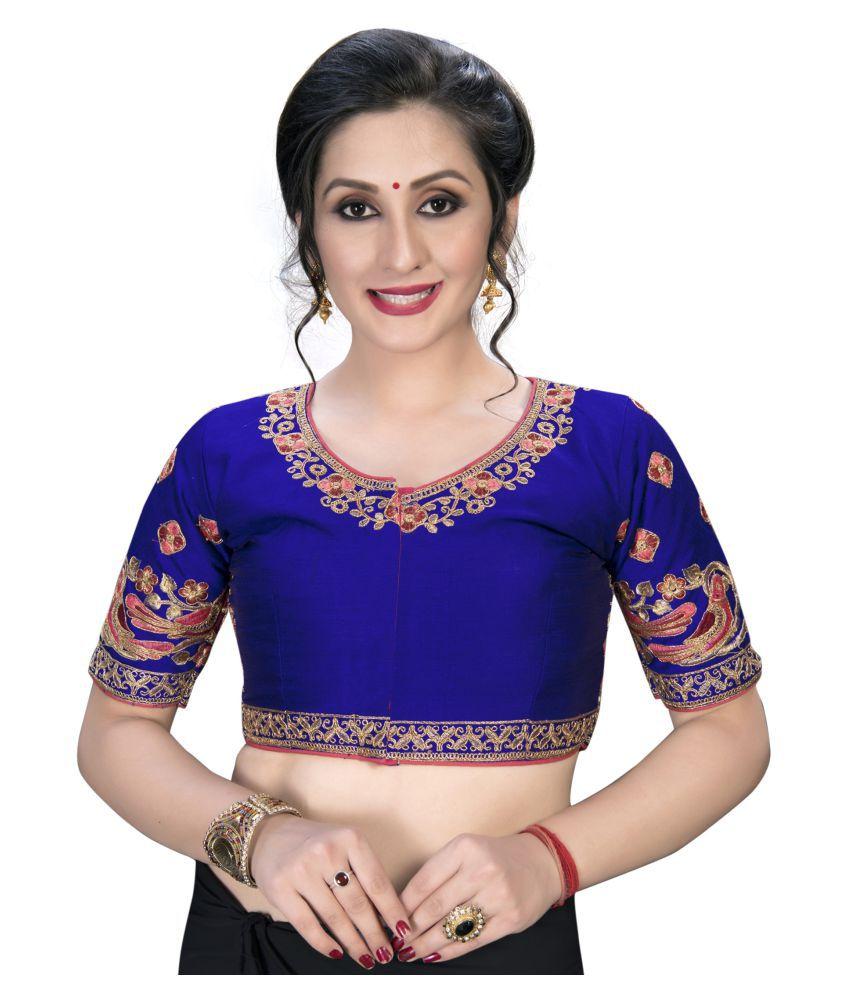 Amrutam Fab Blue Silk Semi Stitched Blouse